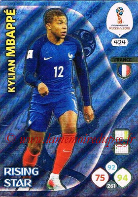 2018 - Panini FIFA World Cup Russia Adrenalyn XL - N° 424 - Kylian MBAPPE (France) (Rising Star)