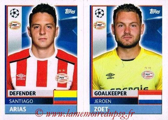 2016-17 - Topps UEFA Champions League Stickers - N° PSV 4-5 - Jeroen ZOET + Santiago ARIAS (PSV Eindhoven)
