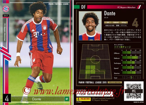 Panini Football League 2015 - PFL12 - N° 063 - DANTE (Bayern Munich)