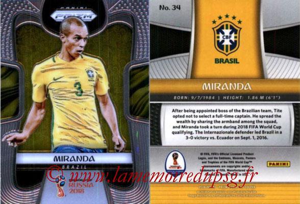 2018 - Panini Prizm FIFA World Cup Russia - N° 034 - MIRANDA (Bresil)