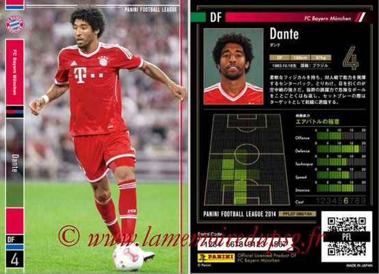 Panini Football League 2014 - PFL07 - N° 080 - DANTE (Bayern Munich)