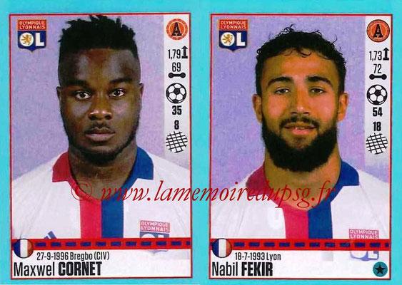 2016-17 - Panini Ligue 1 Stickers - N° 374 + 375 - Maxwel CORNET + Nabil FEKIR (Lyon)