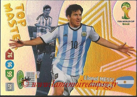 2014 - Panini FIFA World Cup Brazil Adrenalyn XL - N° 406 - Lionel MESSI (Argentine) (Top Master)