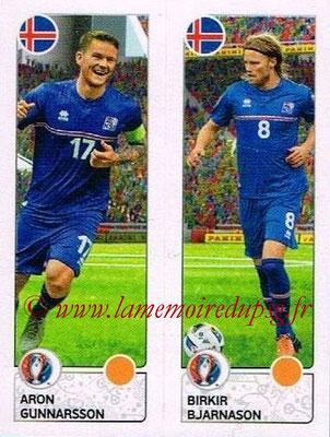 Panini Euro 2016 Stickers - N° 607 - Aron GUNNARSSON + Birkir BJARNASON (Islande)