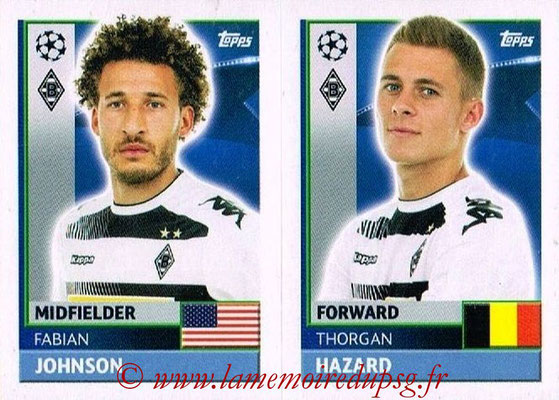 2016-17 - Topps UEFA Champions League Stickers - N° QFA 13-14 - Thorgan HAZARD + Fabian JOHNSON (VFL Borussia Mönchengladbach)