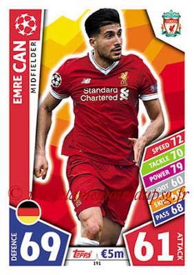 2017-18 - Topps UEFA Champions League Match Attax - N° 191 - Emre CAN (Liverpool FC)