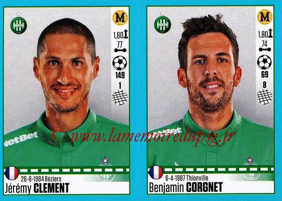 2016-17 - Panini Ligue 1 Stickers - N° 786 + 787 - Jérémy CLEMENT + Benjamin CORGNET (Saint-Etienne)