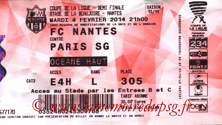Tickets  Nantes-PSG  2013-14