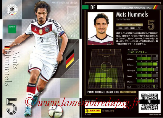 Panini Football League 2015 - PFL14 - N° 104 - Mats HUMMELS (Allemagne) (Super DF)