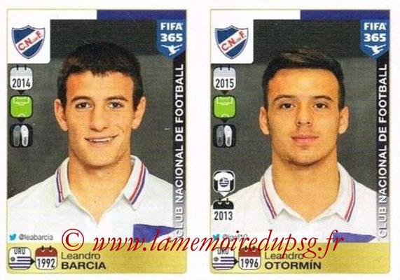 2015-16 - Panini FIFA 365 Stickers - N° 817-818 - Leandro BARCIA + Leandro OTORMIN (Club Nacional de Football)
