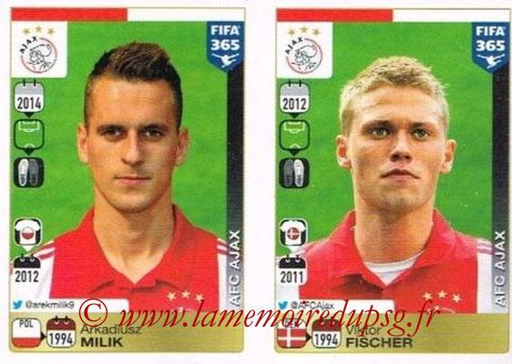 2015-16 - Panini FIFA 365 Stickers - N° 667-668 - Arkadiusz MILIK + Viktor FISCHER (AFC Ajax)