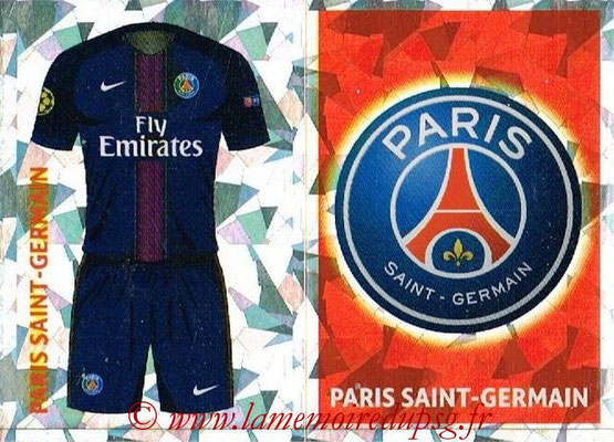 2016-17 - Topps UEFA Champions League Stickers - N° PSG 1-2 - Logo + Maillot Domicile (Paris Saint-Germain)