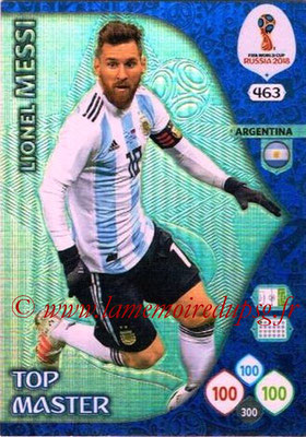 2018 - Panini FIFA World Cup Russia Adrenalyn XL - N° 463 - Lionel MESSI (Argentine) (Top Master)