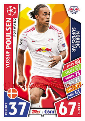 2017-18 - Topps UEFA Champions League Match Attax - N° N02 - Yussuf POULSEN (RB Leipzig) (Nordic Superstar)(Nordic Edition)