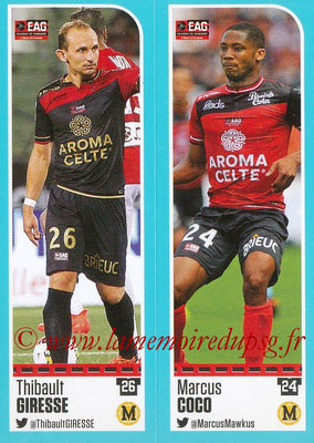2016-17 - Panini Ligue 1 Stickers - N° 226 + 227 - Thibault GIRESSE + Marcus COCO (Guingamp)