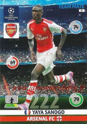 2014-15 - Adrenalyn XL champions League N° 051 - Yaya SANOGO (Arsenal FC)