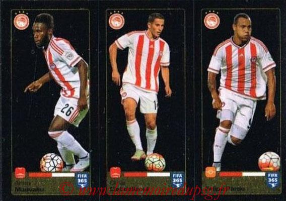 2015-16 - Panini FIFA 365 Stickers - N° 533-534-535 - Arthur MASUAKU + Omar ELABDELLAOUI + Felipe PARDO (Olympiacos FC)