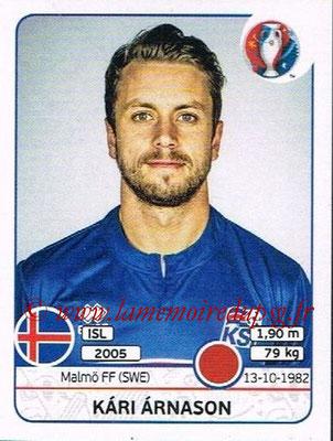Panini Euro 2016 Stickers - N° 615 - Kari ARNASON (Islande)