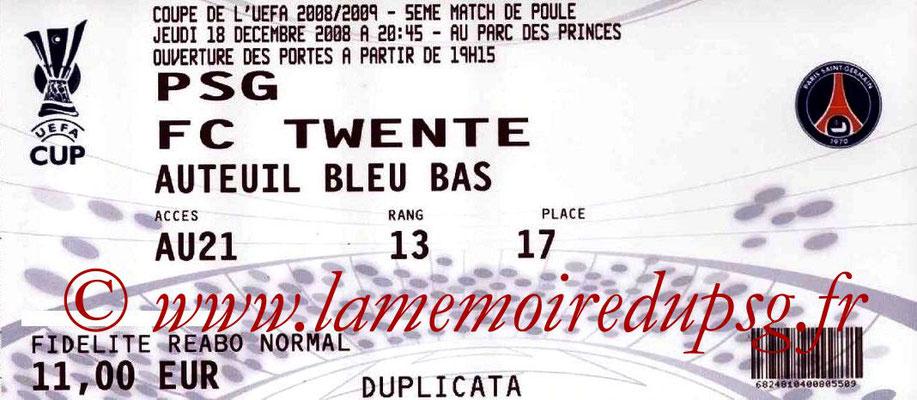 Tickets  PSG-Twente  2008-09
