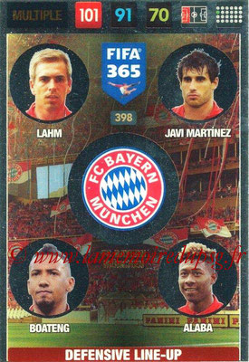 2016-17 - Panini Adrenalyn XL FIFA 365 - N° 398 - LAHM + JAVI MARTINEZ + BOATENG + ALABA (FC Bayern Munich) (Defensive Line-Up)