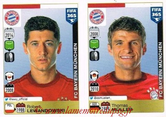 2015-16 - Panini FIFA 365 Stickers - N° 489-490 - Robert LEWANDOWSKI + Thomas MÜLLER (FC Bayern Munich)