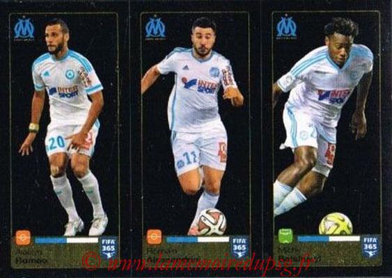 2015-16 - Panini FIFA 365 Stickers - N° 420-421-422 - Alaixys ROMAO + Romain ALESSANDRINI + Michy BATSHUAYI (Olympique de Marseille)