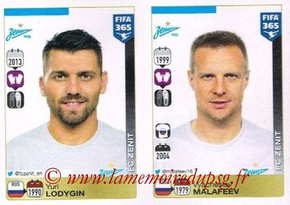 2015-16 - Panini FIFA 365 Stickers - N° 732-733 - Yuri LODYGIN + Vyacheslav MALAFEEV (FC Zenit)