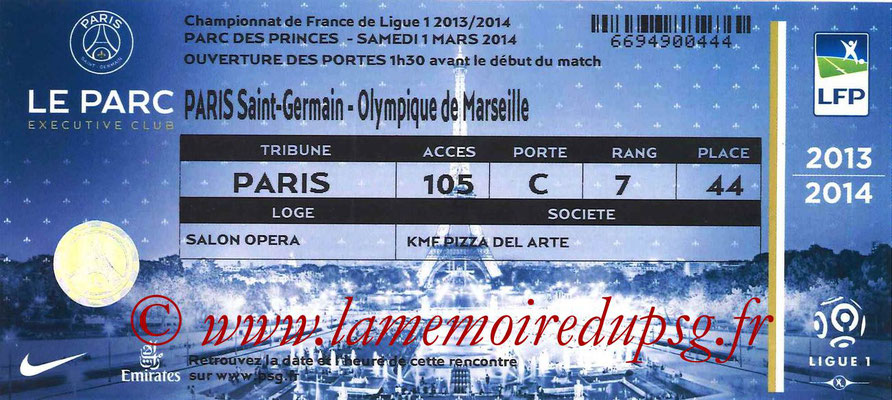 Tickets  PSG-Marseille  2013-14