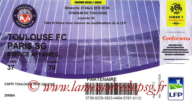 Ticket  Toulouse-PSG  2018-19