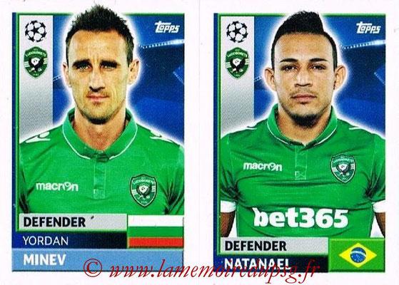 2016-17 - Topps UEFA Champions League Stickers - N° QFF 5-6 - NATANAEL + Jordan MINEV (PFC Ludogoretz Razgrad)