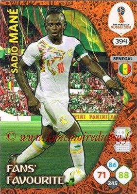 2018 - Panini FIFA World Cup Russia Adrenalyn XL - N° 394 - Sadio MANE (Senegal) (Fans' Favourite)