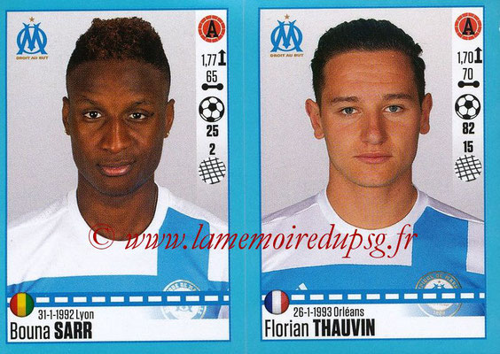 2016-17 - Panini Ligue 1 Stickers - N° 420 + 421 - Bouna SARR + Florian THAUVIN (Marseille)