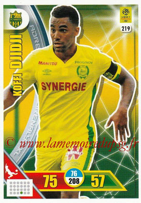 2017-18 - Panini Adrenalyn XL Ligue 1 - N° 219 - Koffi DJIDJI (Nantes)