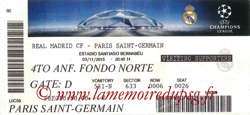 2015-16  Ticket  Real Madrid-PSG