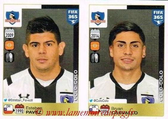 2015-16 - Panini FIFA 365 Stickers - N° 232-236 - Esteban PAVEZ + Bryan CARVALLO (Colo Colo)