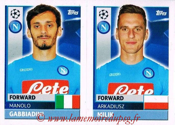 2016-17 - Topps UEFA Champions League Stickers - N° NAP 18-19 - Arkadiusz MILIK + Manolo GABBIADINI (SSC Naples)