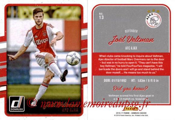 2016 - Panini Donruss Cards - N° 013 - Joël VELTMAN (AFC Ajax)