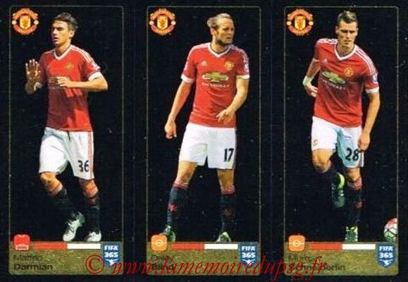 2015-16 - Panini FIFA 365 Stickers - N° 323-324- 325 - Matteo DARMIAN + Daley BLIND + Morgan SCHNEIDERLIN (Manchester United FC)