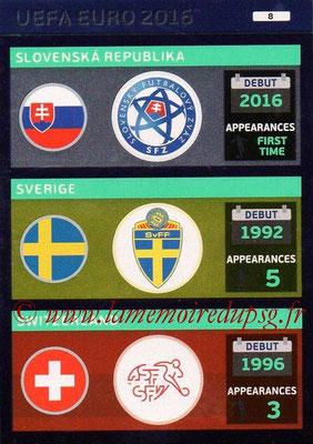 Panini Euro 2016 Cards - N° 008 - Equipes Slovénie + Suède + Suisse