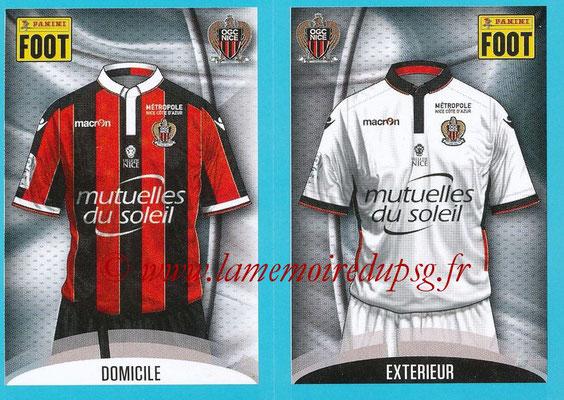 2016-17 - Panini Ligue 1 Stickers - N° 636 + 637 - Maillot Domicile + Extérieur (Nice)