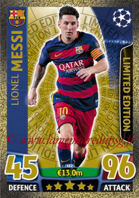 2015-16 - Topps UEFA Champions League Match Attax - N° LE2 - Lionel MESSI (FC Barcelone) (Limited Edition Gold)
