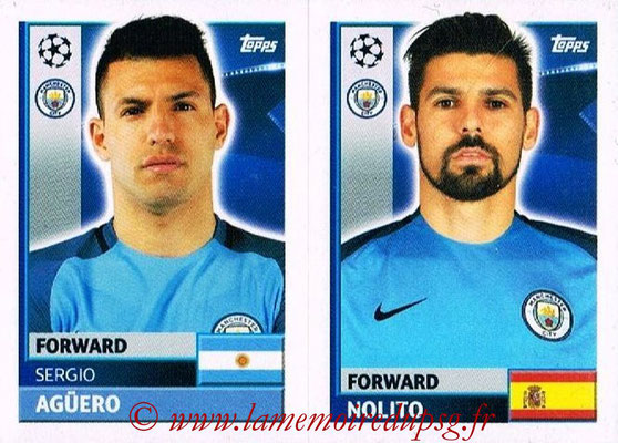 2016-17 - Topps UEFA Champions League Stickers - N° QFG 15-16 - NOLITO + Sergio AGUERO (Manchester City FC)