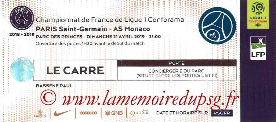 Tickets  PSG-Monaco  2018-19