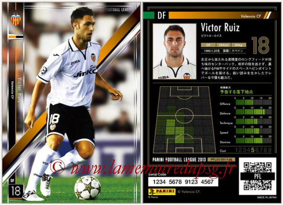 Panini Football League 2013 - PFL03 - N° 051 - Victor Ruiz (FC Valence)