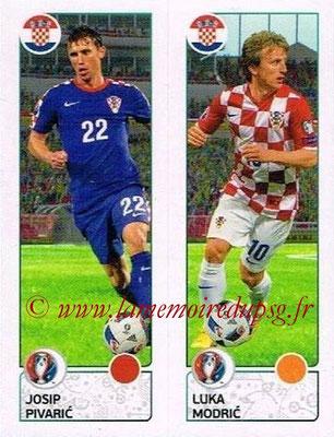 Panini Euro 2016 Stickers - N° 434 - Josip PIVARIC + Luka MODRIC (Croatie)