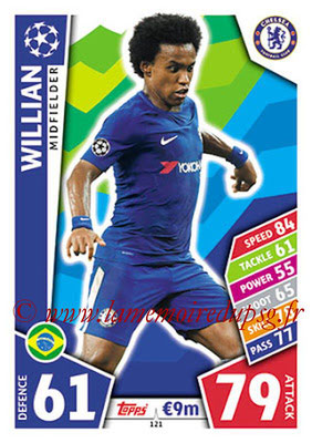 2017-18 - Topps UEFA Champions League Match Attax - N° 121 - WILLIAN (Chelsea FC)