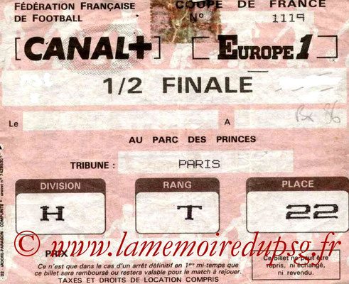 Ticket  PSG-Bordeaux  1985-86