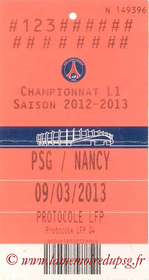 Ticket LFP  PSG-Nancy  2012-13