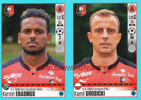2016-17 - Panini Ligue 1 Stickers - N° 752 + 753 - Kermit ERASMUS + Kamil GROSICKI (Rennes)