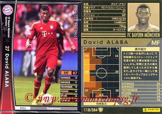 2012-13 - WCCF - N° 118 - David ALAVA (FC Bayern Munich)